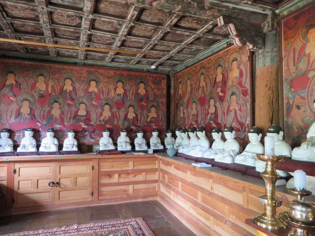 The Hall of the Ancestors at Songgwangsa, now furnished with modern replicas of painted and sculpted Buddhist icons. June 23, 2017. Photo by Maribeth Graybill.
