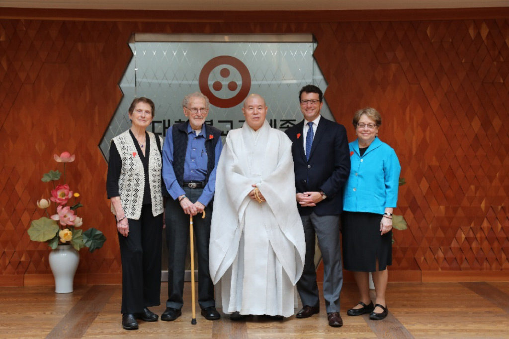 Left to right: Sandra Mattielli, Robert Mattielli, Venerable Ja-seung, Brian Ferriso, and Maribeth Graybill at the Jogye Buddhist Order Headquarters in Seoul, June 20, 2017. Photo courtesy Jogye Order of Korean Buddhism.