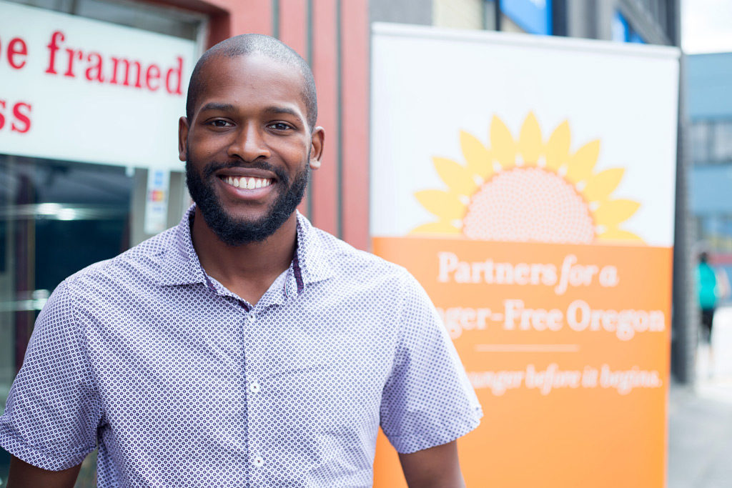 Joshua Thomas, storyteller from Partners for a Hunger Free Oregon and the Oregon Food Bank