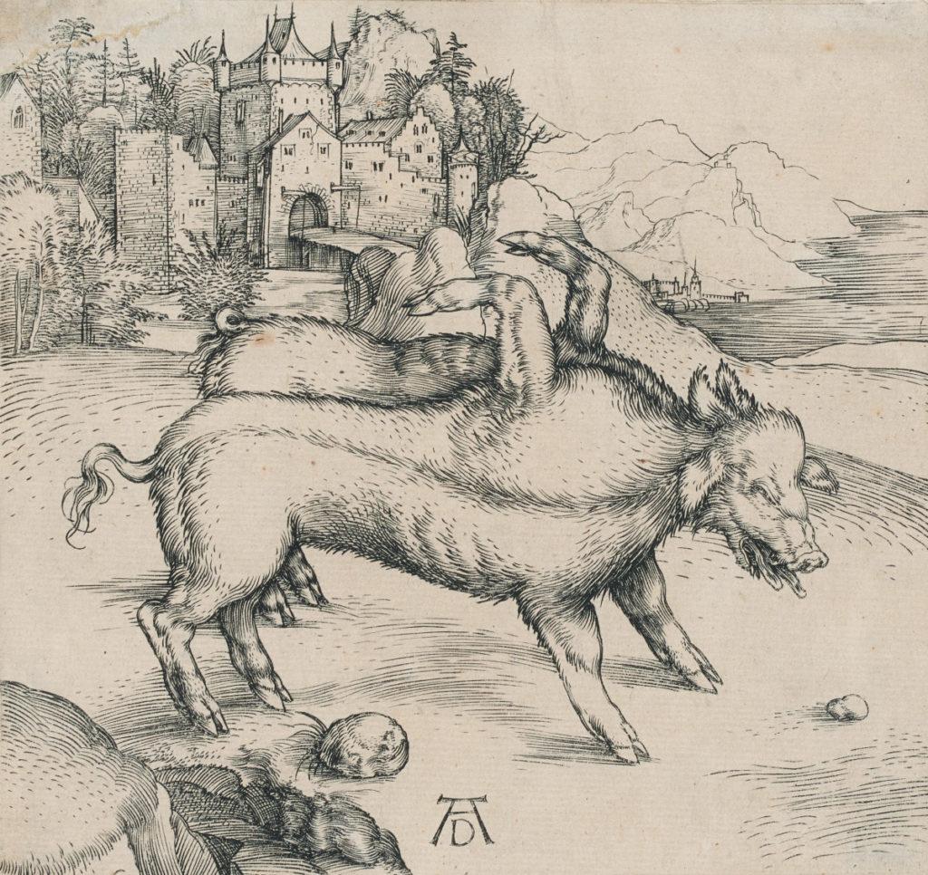 Albrecht Dürer (German, 1471-1528), Die wunderbare Sau von Landser (The Monstrous Sow of Landser), ca. 1496, engraving on laid paper, The Mark Adams and Beth Van Hoesen Art Collection