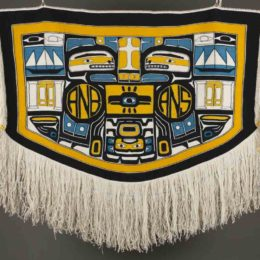 Clarissa Rizal (American and Tlingit, 1956-2016), Resilience Robe, 2014, merino wool, Museum Purchase: Funds given in memory of Virginia Waterman, © Clarissa Rizal