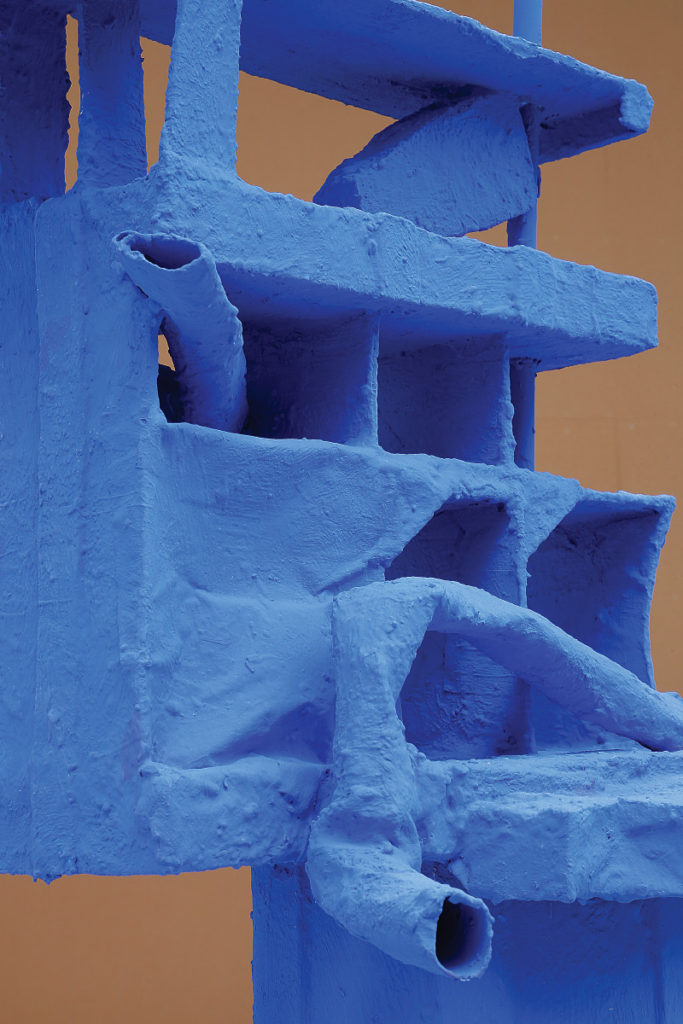 Dawn Cerny (American, born 1979), Blue structure for things and house keys (detail), 2016, aqua resin, fiberglass, clay, wood, paper, foam, casters, paint, plaster, found objects. Photographed by Mark Woods. Courtesy of Henry Art Gallery, Seattle