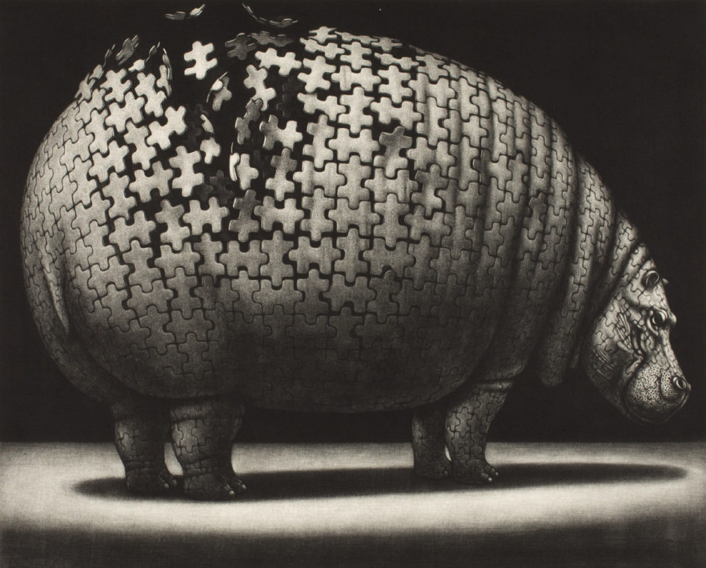 Sakazume Atsuo (Japanese, born 1941), Safari Land—Satiation, 1983, mezzotint, Portland Art Museum: The Carol and Seymour Haber Collection, © Sakazume Atsuo