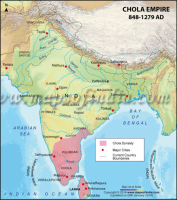 Map of the Chola Empire, 848 – 1279 AD