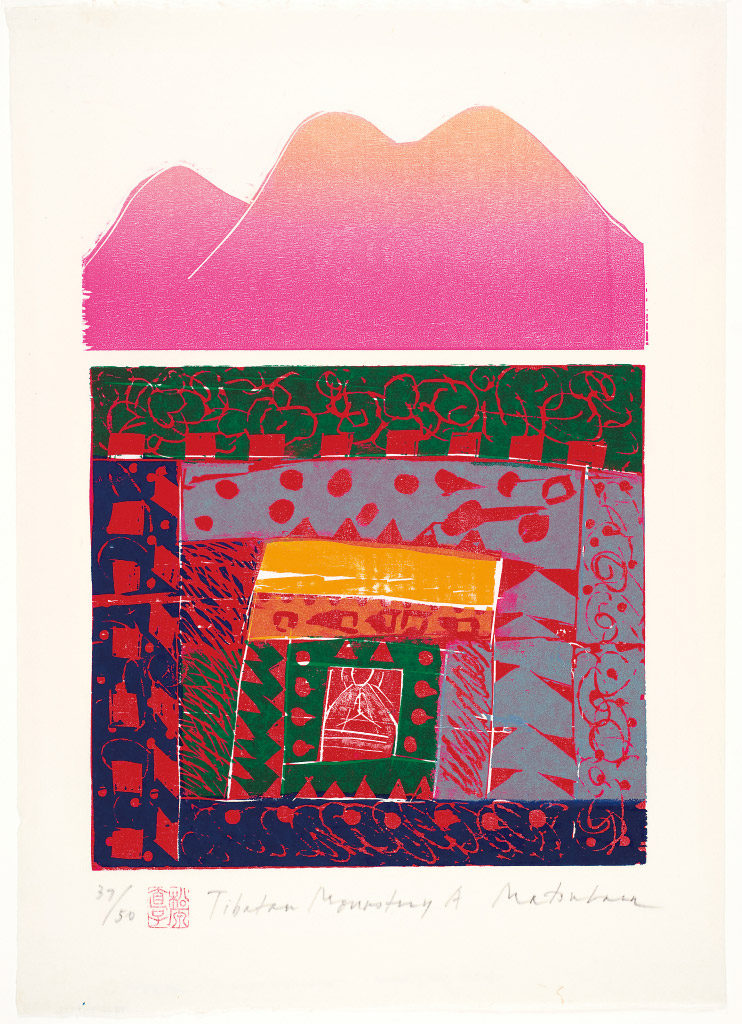 Matsubara Naoko, Tibetan Monastery A, 1986, color woodblock print on paper, Gift of the Society of American Graphic Artists, © 1986 Matsubara Naoko, 92.62