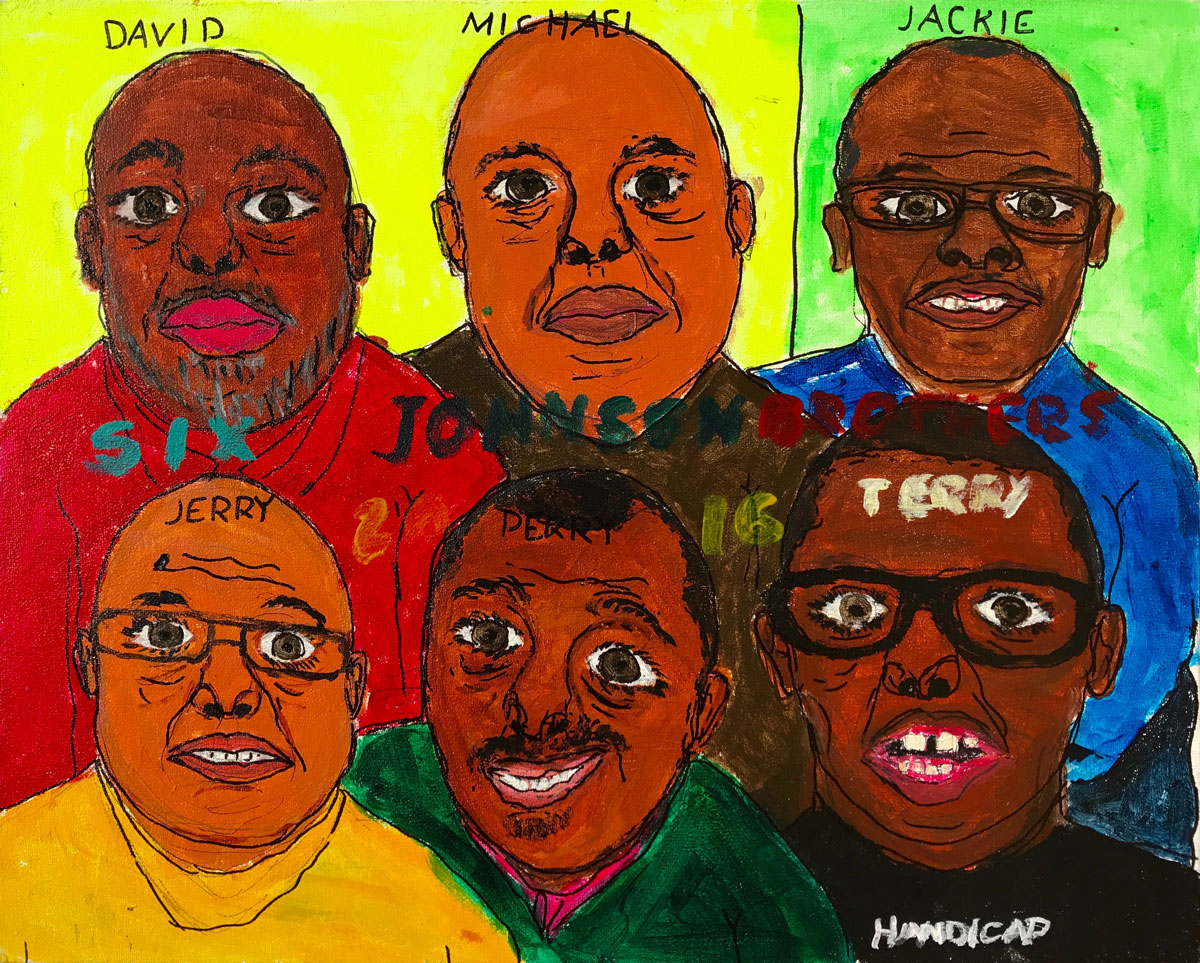 Perry Johnson, 2015, Six Johnson Brothers, acrylic, sharpie, on board.