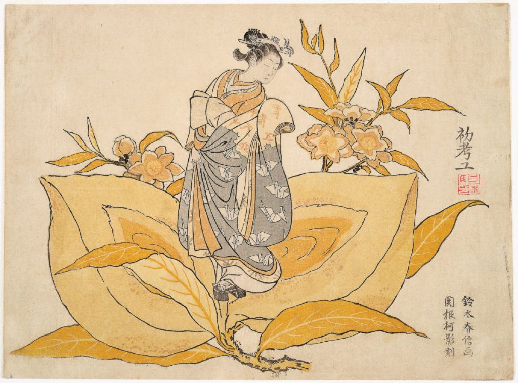 Suzuki Harunobu, Little Peachling: Calendar print for 1765, 1765, yoko chūban nishiki-e (color woodblock print), The Mary Andrews Ladd Collection, public domain, 32.93