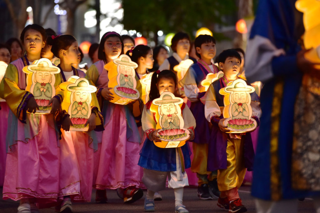 Procession of children with lanterns in Seoul, South Korea.
