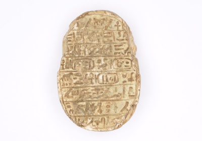 Amenhotep III Commemorative Scarab, New Kingdom (1540-1075 BCE), light brown stone.