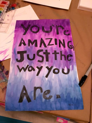 "Poster with the text ""You're amazing just the way you are."""