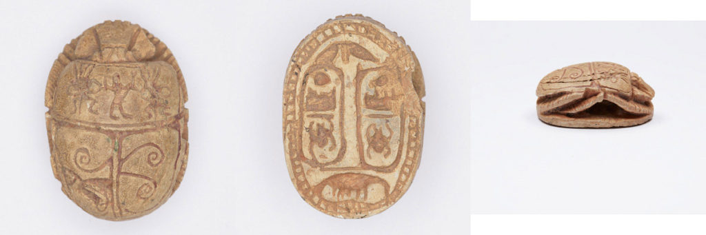 Scarab with Name of Thutmosis III (Menkheperre), New Kingdom (1540-1075 BCE), light brown steatite with traces of green glaze