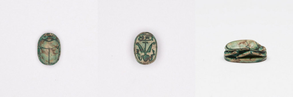 Scarab with Name of Thutmosis III (Menkheperre), New Kingdom (1540-1075 BCE), blue glazed steatite