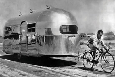 Airstream pulled by a cyclist.