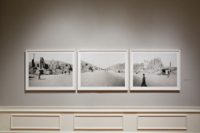 Three photographs in the Common Ground installation.