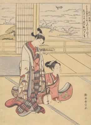 Suzuki Harunobu, Saigyō Hōshi, from an untitled series of Sanseki (Three Evening Poems), ca. 1767/1768