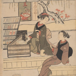 Suzuki Harunobu, Ofuji at the Moto-Yanagiya with a female customer, ca. 1769