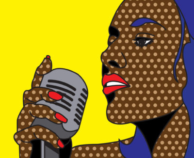 Illustration of woman singing into microphone