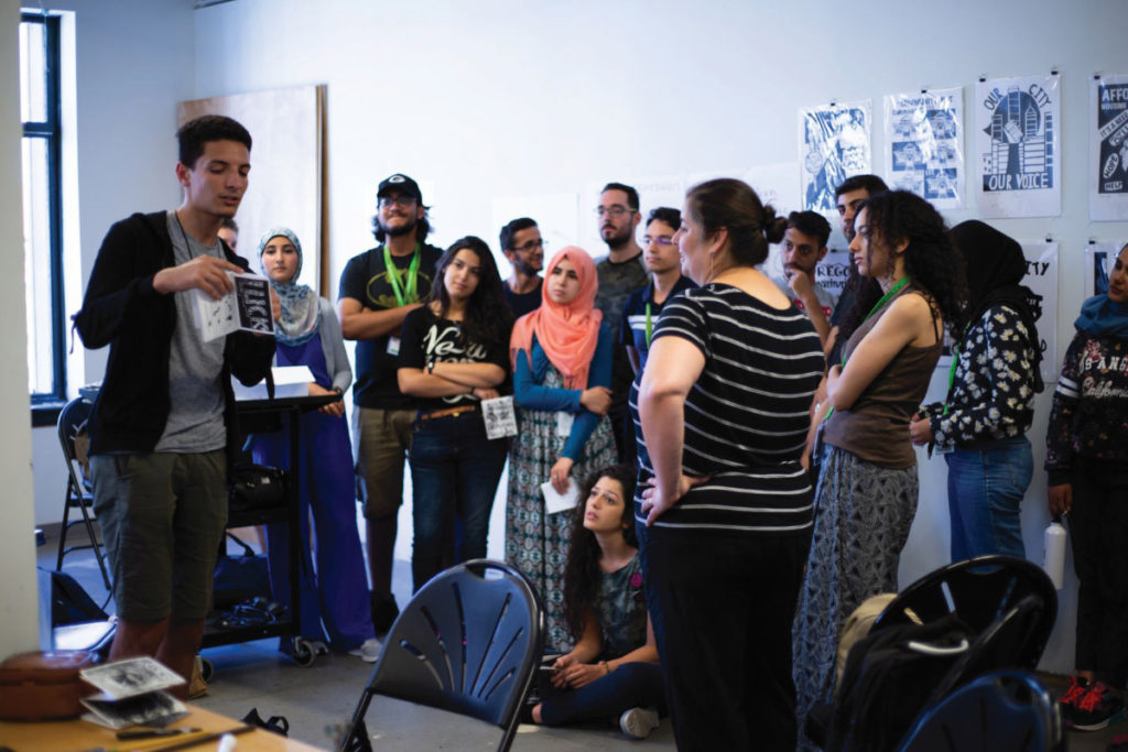 Artist Sabina Haque and students in PSU's Middle East Partnership Initiative program for a printmaking workshop.