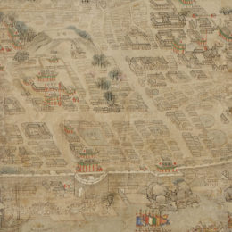 Korea, unknown artist, The Walled City of Pyeongyang (detail), 19th century.