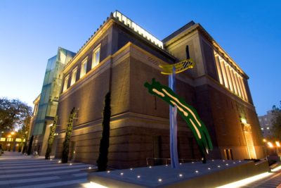 The 1996 Roy Lichtenstein sculpture Brushstrokes stands prominently outside the Portland Art Museum's Mark Building. Artwork credit: Roy Lichtenstein, Brushstrokes, 1996, painted aluminum, Gift of Prudence M. Miller and her Family, © Estate of Roy Lichtenstein.