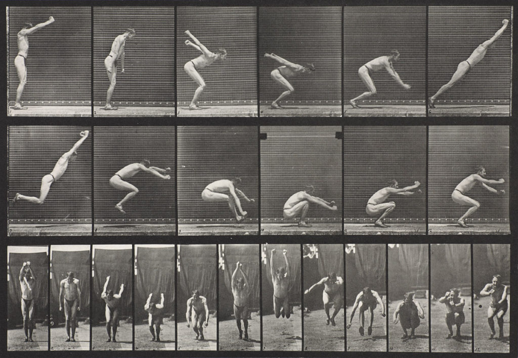 Eadweard Muybridge, Jumping; Standing Broad Jump (Shoes), Plate 163 from the book Animal Locomotion: An Electro-Photographic Investigation of Consecutive Phases of Animal Movements, 1887