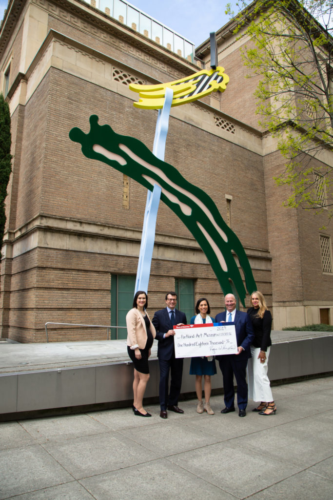 Director Brian Ferriso and Conservator Samantha commemorate the Bank of America Art Conservation Project gift with Bank of America representatives Jessica Hewitt, Roger Hinshaw, and Monique Barton.
