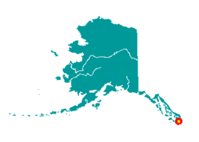 Marker on map indicating location of Metlakatla, Alaska.