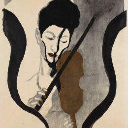 Onchi Kōshirō, Impression of a Violinist: Portrait of Suwa Nejiko, 1947