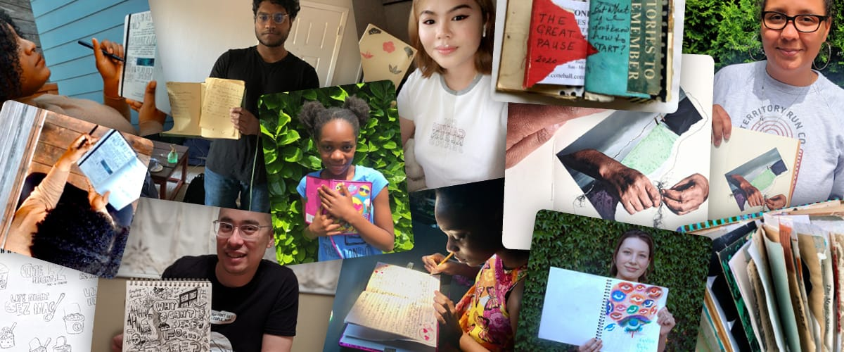 Collage of people holding up their journals.