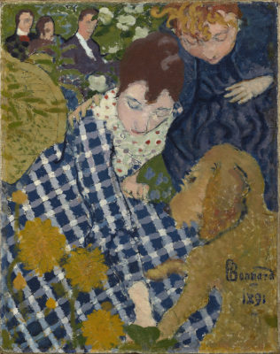 Women with a Dog, 1891. Pierre Bonnard. Oil and ink on canvas.