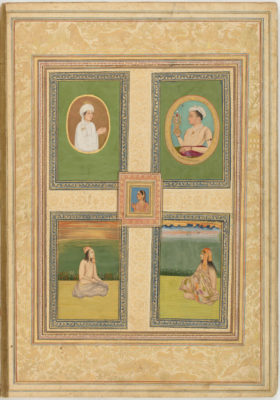 Page from an album probably produced in Lucknow, India, during the eighteenth century, reputedly associated with Warren Hastings. Ink, opaque watercolor, and gold on paper, overall page: 18 1/8 × 12 11/16 in. National Museum of Asian Art, Freer Gallery of Art, Washington, D.C., F1907.276.13v