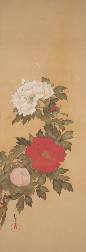 Sakai Hōitsu (Japanese, 1761-1828), Red and White Peonies with Butterflies, ca. 1810/1828, hanging scroll; ink and color on silk, image: 56 7/8 in x 20 in, Gift of Mary and Cheney Cowles, 2019.63.11b