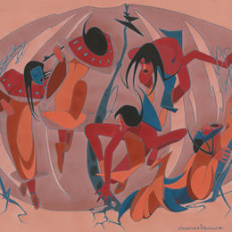 Umine Dance, 1958. Casein and gouache on paper, mounted to board, 18 x 22 in., Garth Greenan Gallery, New York.